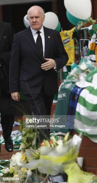 Former Home Secretary John Reid leaves Celtic Park for the funeral of Tommy Burns