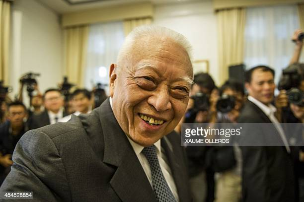 Former Hong Kong Chief Executive Tung Cheehwa attends a press conference in Hong Kong on September 3 2014 Tung supported the standing committee of...