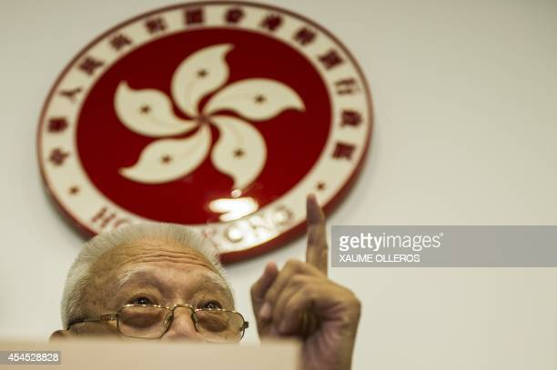 Former Hong Kong Chief Executive Tung Cheehwa gestures during a press conference in Hong Kong on September 3 2014 Tung supported the standing...