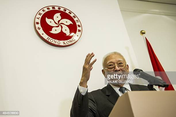 Former Hong Kong Chief Executive Tung Cheehwa speaks during a press conference in Hong Kong on September 3 2014 Tung supported the standing committee...