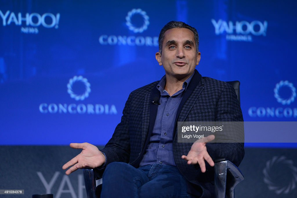 Former host of 'Al-Bernameg' Bassem Youssef speaks on stage during the 2015 Concordia Summit at Grand Hyatt New York on October 2, 2015 in New York City.