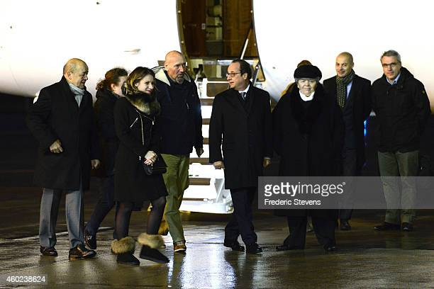 Former hostage Serge Lazarevic is welcomed by French President Francois Hollande jean yves le drian french ministry of defense daugter Diane and...