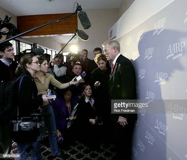 Former House Majority Leader Richard 'Dick' Gephardt speaks to the press during the AARP Democratic Presidential Candidate Forum at the Wayfarer Inn...