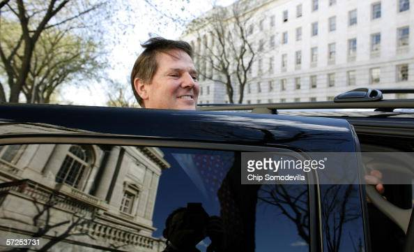 Former House Majority Leader Tom DeLay climbs into his SUV after leaving the Cannon House Office Building on Capitol Hill April 4 2006 in Washington...