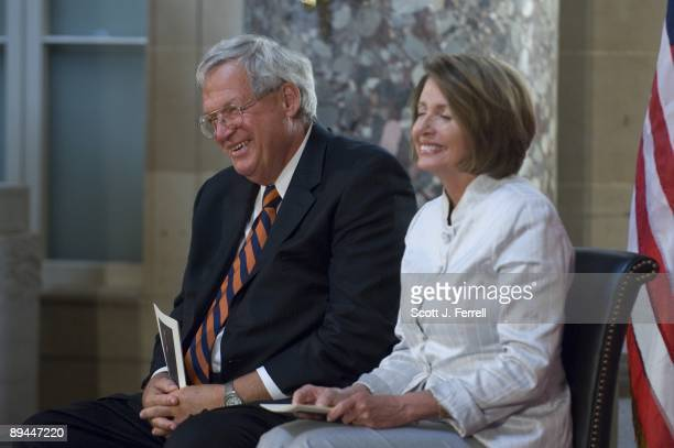 Former House Speaker J Dennis Hastert RIll and House Speaker Nancy Pelosi DCalif during the unveiling ceremony of Hastert's portrait Hastert was the...