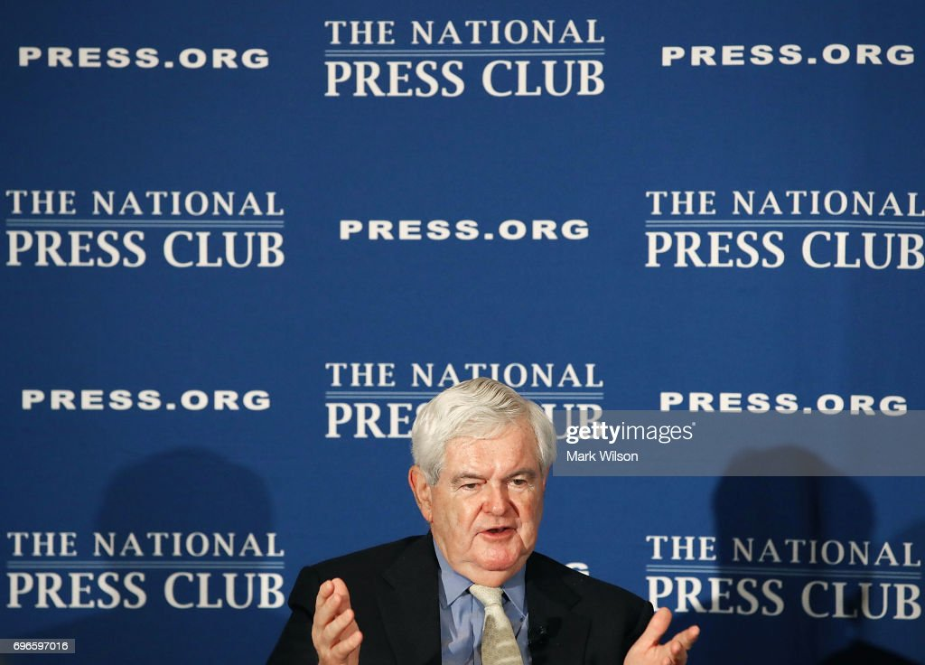Former House Speaker Newt Gingrich (R-GA), speaks about his book 'Understanding Trump' during a book discussion at the National Press Club, on June 16, 2017 in Washington, DC. Gingrich was an early endorser of candidate Trump during the presidential campaign.