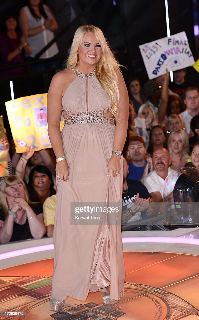 Former housemate Sophie Lawrence attends the Big Brother final at Elstree Studios on August 19, 2013 in Borehamwood, England.