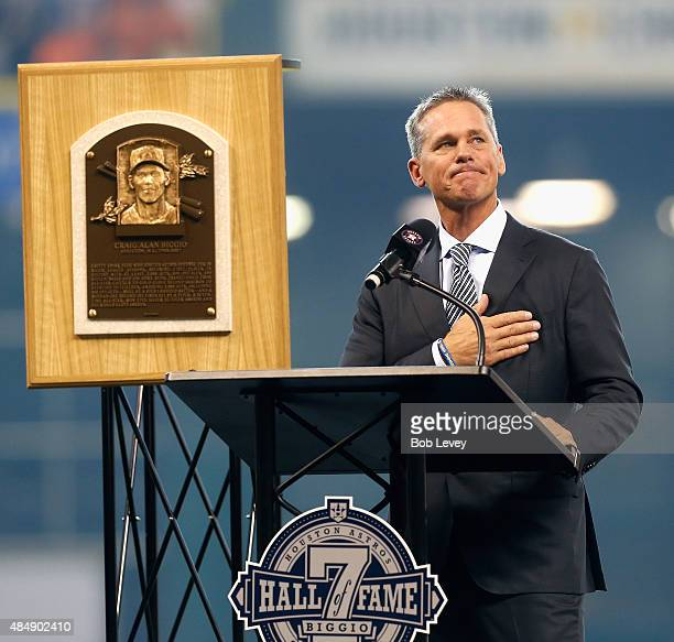 Former Houston Astro and Hall of Famer Craig Biggio is honored during a pregame ceremony at Minute Maid Park on August 22 2015 in Houston Texas