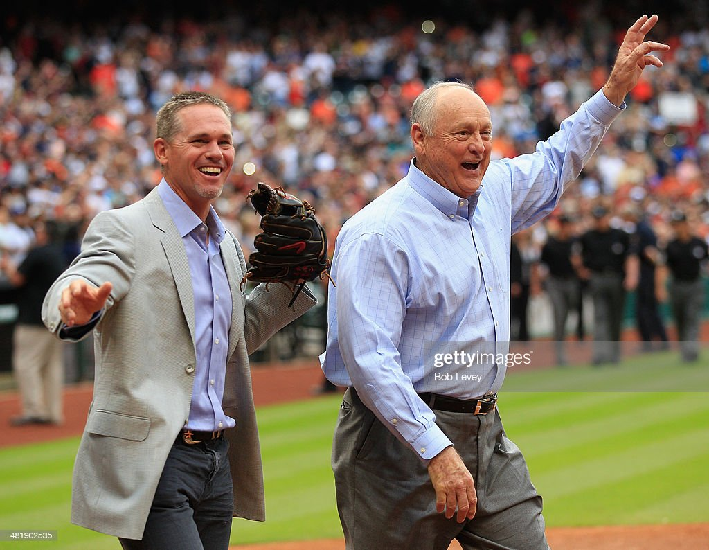 Former Houston Astros Craig Biggio,left, and Nolan Ryan wave to the crowd after Ryan threw out the first pitch to Biggio on opening night at Minute Maid Park on April 1, 2014 in Houston, Texas.