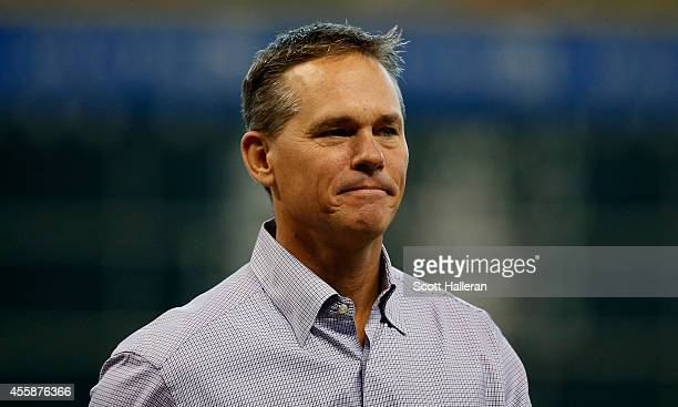 Former Houston Astros player Craig Biggio walks across the infield prior to the start of the game against the Seattle Mariners at Minute Maid Park on...