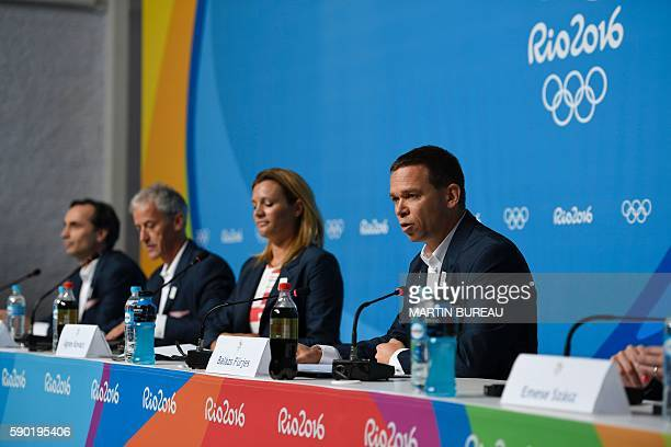 Former Hungarian figure skater Laszlo Vajda former Hungarian athlese Attila Mizser Hungarian swimmer Agnes Kovacs and chair of the bid committee...