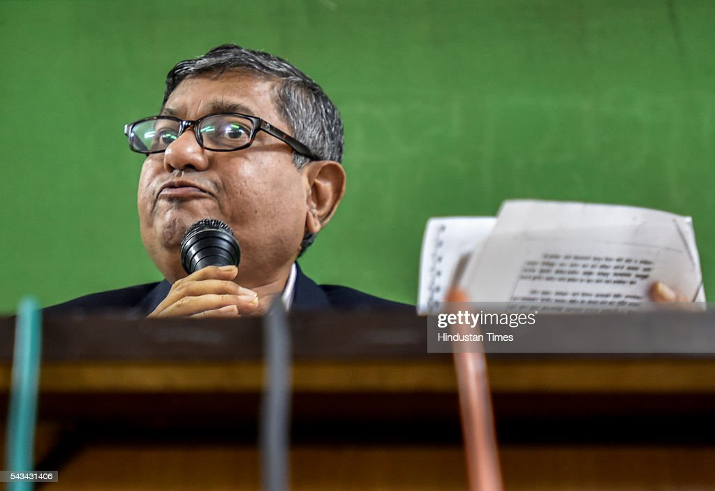 Former IAS officer and State Information Commissioner Ratnakar Gaikwad interacts to media during press conference at Mumbai Marathi Patrakar Sangh on June 28, 2016 in Mumbai, India. Prakash Ambedkar, the grandson of Dr BR Ambedkar, filed an FIR against former IAS officer and State Information Commissioner Ratnakar Gaikwad and Madhukar Kamble, trustee of the Peoples Improvement Trust, in connection with the demolition of the historic Ambedkar Bhavan in central Mumbai in the early hours of Saturday.