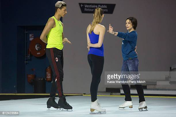 Former ice skating champion Nathalie Pechalat with Justine Scache and Arnaud Caffa are photographed for Paris Match on June 24 2016 in Paris France