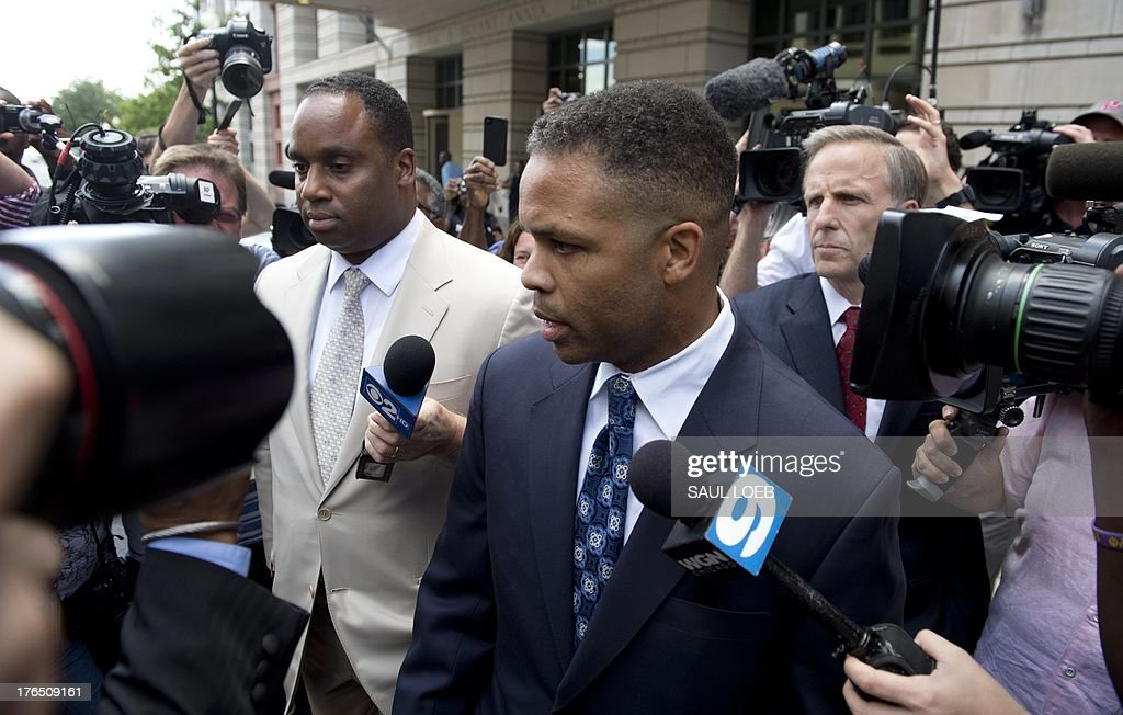 Former Illinois Congressman Jesse Jackson Jr leaves the US District Court in Washington DC August 14 following a sentencing hearing Jackson was...