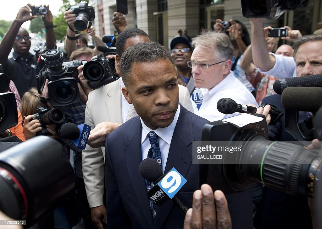 Former Illinois Congressman Jesse Jackson Jr., leaves the US District Court in Washington, DC, August 14, 2013, following a sentencing hearing. Jackson was sentenced today to 30 months behind bars and his wife, Sandi, got a year in prison for separate felonies involving the misspending of about $750,000 in campaign funds. The Jacksons will be allowed to serve their sentences one at a time, with Jackson Jr. going first. In addition to the 2.5 years in prison, Jackson Jr. was sentenced to three years of supervised release. Sandi Jackson was ordered to serve 12 months of supervised release following her prison term. AFP PHOTO / Saul LOEB