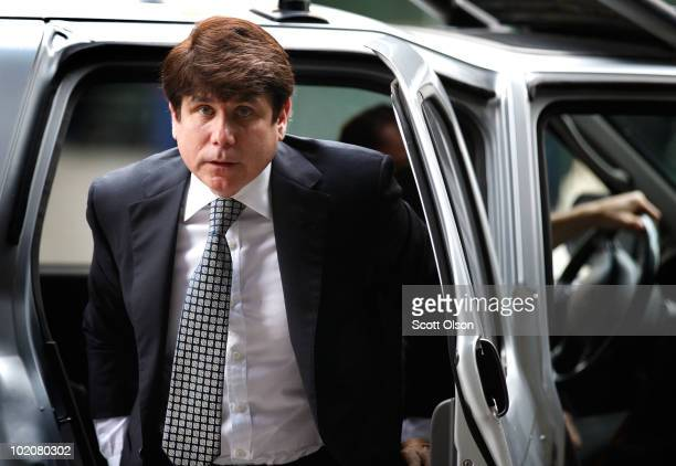 Former Illinois Gov Rod Blagojevich arrives for his trial at the Dirksen Federal Building on June 14 2010 in Chicago Illinois The former governor has...