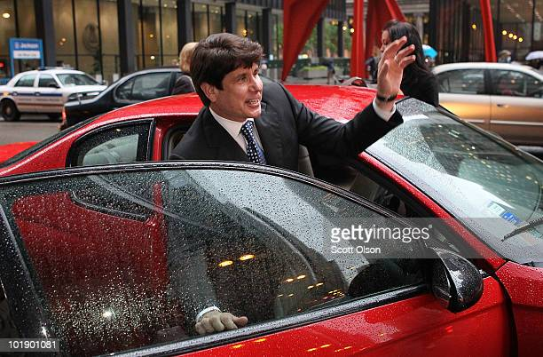Former Illinois Gov Rod Blagojevich leaves federal court following opening arguments at his trial June 8 2010 in Chicago Illinois The former governor...