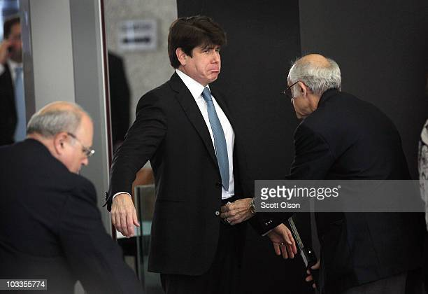 Former Illinois Governor Rod Blagojevich arrives at the Dirksen Federal Building while the jury deliberates in his corruption trial August 12 2010 in...