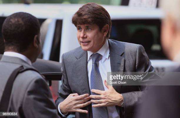 Former Illinois Governor Rod Blagojevich arrives for a court hearing at the Dirksen Federal Building on April 21 2010 in Chicago Illinois Blagojevich...
