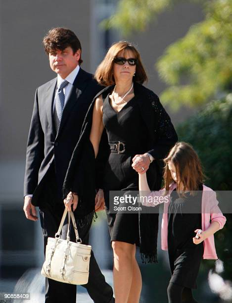 Former Illinois Governor Rod Blagojevich his wife Patti and daughter Annie arrive for the funeral of one of his former top fundraisers Christopher...