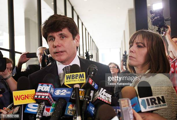 Former Illinois Governor Rod Blagojevich speaks to the media with his wife Patti following a guilty verdict in his corruption retrial at the Dirksen...