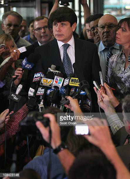 Former Illinois Governor Rod Blagojevich speaks to the press following a verdict at his corruption trial August 17 2010 in Chicago Illinois...
