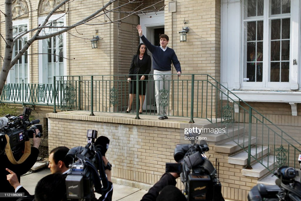 Former Illinois Governor Rod Blagojevich waves to supporters and neighbors as he steps out of his home for a brief press conference April 13, 2011 in Chicago, Illinois. Blagojevich used the press conference to proclaim his innocence ahead of his retrial which is scheduled to begin April 20. In August 2010 Blagojevich was found guilty on one charge of giving a false statement to federal agents. The jury was unable to reach a verdict on 23 other counts against him.