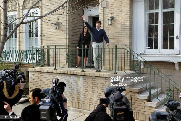 Former Illinois Governor Rod Blagojevich waves to supporters and neighbors as he steps out of his home for a brief press conference April 13 2011 in...