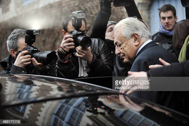 Former IMF chief Dominique StraussKahn leaves his hotel on February 11 in the northern French city of Lille to attend his trial on chages of...