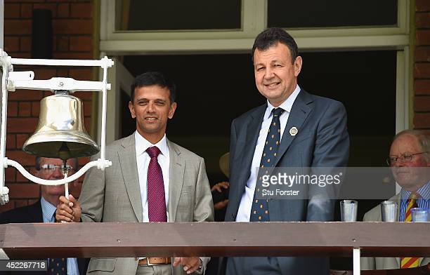 Former India batsman Rahul Dravid prepares to ring the '5 minute bell' watched by Derek Brewer of the MCC before day one of 2nd Investec Test match...