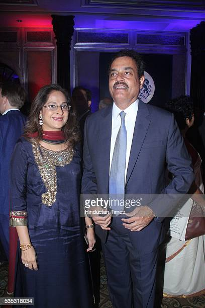 Former India cricketer Dilip Vengsarkar with wife Manali Vengsarkar during the 90th birthday celebrations of Queen Elizabeth II hosted by the British...