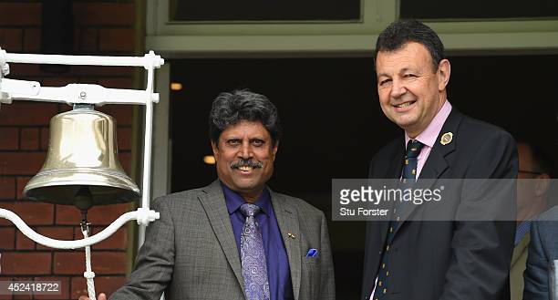 Former India player Kapil Dev rings the '5 minute bell' watched by Derek Brewer of the MCC before day four of 2nd Investec Test match between England...