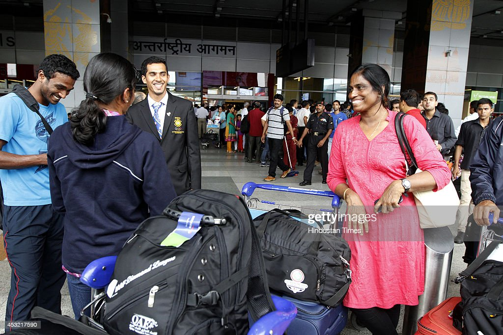 Former Indian athlete PT Usha on arrival at the IGI Airport after participating in CWG 2014 held at Glasgow on August 5, 2014 in New Delhi, India.