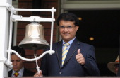 Former Indian batsman Sourav Ganguly rings the five minute bell ahead of day five of 2nd Investec Test match between England and India at Lord's...