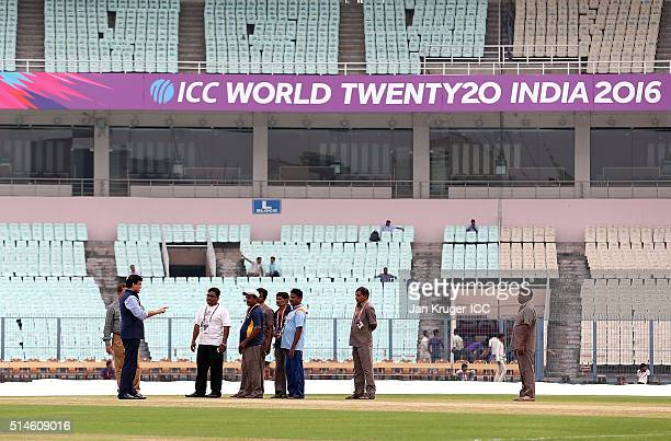 Former Indian Captain Sourav Ganguly chats with groundsmen ahead of the ICC World Twenty20 warm up match between India and West Indies at Eden...