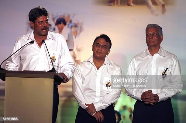 Former Indian cricket captain of 1983 World Cup winning team Kapil Dev addresses the gathering as his team mates Sunil Gavaskar and Mohinder Amarnath...