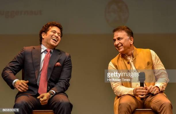 Former indian cricket captain Sachin Tendulkar and Sunil Gavaskar during the launch of Rajdeep Sardesai's book at Royal Opera on October 23 2017 in...