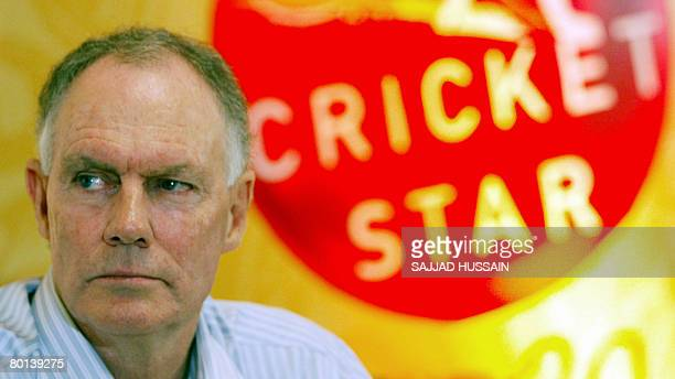Former Indian cricket coach Greg Chappell looks on at a press confrence to launch the Cricket Star Twenty20 talent hunt in Mumbai on March 4 2008...