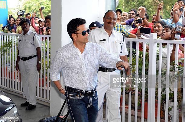 Former Indian Cricket legend Sachin Tendulkar arrives for a meeting before the Indian team departs for Bangladesh tour on June 6 2015 in Kolkata...