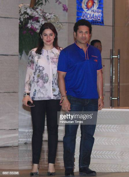 Former Indian cricket player and Mumbai Indians icon player Sachin Tendulkar with his wife Anjali Tendulkar during the party organised to celebrate...