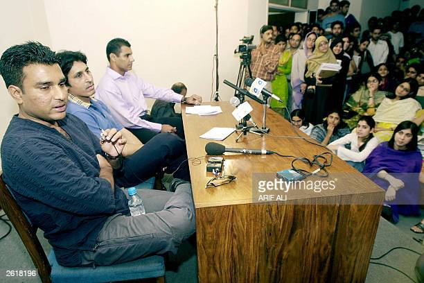 Former Indian cricket team member Sanjay Manjrekar is accompanied by Pakistan Cricket Board chief executive Ramiz Raja and former Pakistani captain...