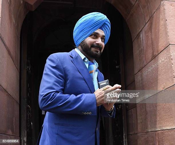 Former Indian cricketer and newly BJP Rajya Sabha Member of Parliament Navjot Singh Sidhu arrives to attend the Parliament Session on April 27 2016...