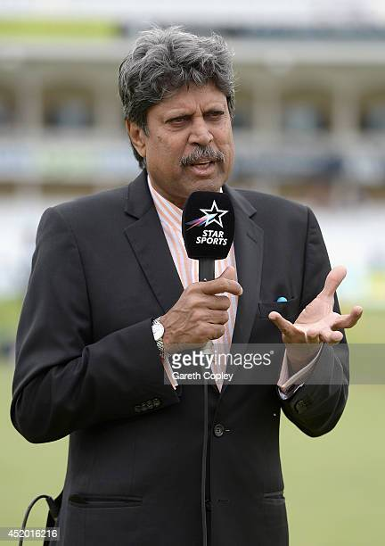Former Indian cricketer and Star Sports commentator Kapil Dev ahead of day three of 1st Investec Test match between England and India at Trent Bridge...