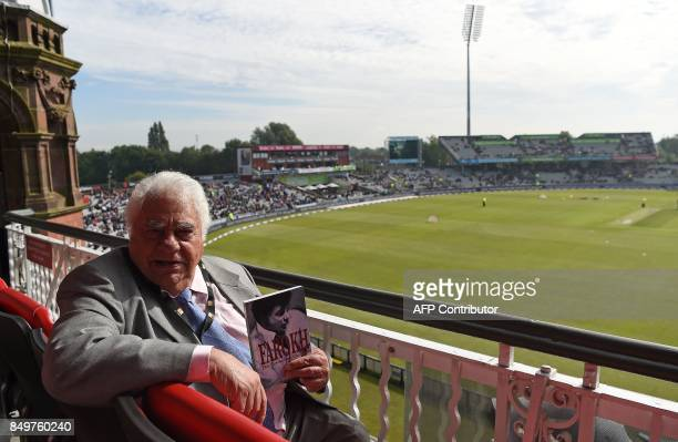 Former Indian cricketer Farokh Engineer poses for a photgraph at Old Trafford cricket ground in Manchester northwest England on September 19 ahead of...