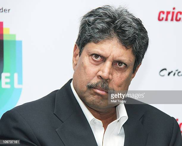Former Indian Cricketer Kapil Dev during the launch of Cricketfreeqcom official internet radio broadcaster of the ICC World Cup 2011 in Mumbai on...
