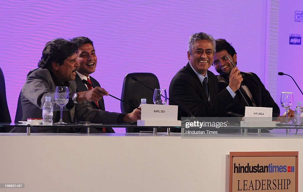 Former Indian Cricketer Kapil Dev shares a laugh with Suresh Raina and Ajay Jadeja before the sixth session of Hindustan Times Leadership Summit at Taj Palace in New Delhi on Friday, November 16, 2012.