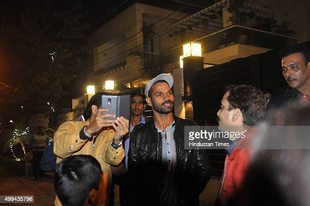 Former Indian cricketer Ravi Shastri and Shikhar Dhawan during a party organized by Cricketer Virat Kohli as he bought a new bungalow on Monday Night...