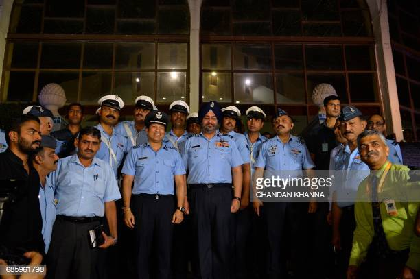Former Indian cricketer Sachin Tendulkar an honorary Indian Air Force Group Captain and Chief of the Indian Air Force Staff Air Chief Marshal...
