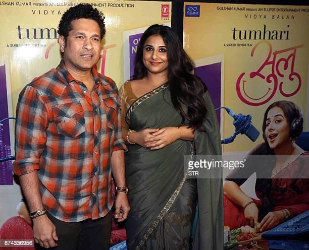 Former Indian cricketer Sachin Tendulkar and Bollywood actress Vidya Balan attend the special screening of the comedydrama Hindi film 'Tumhari Sulu'...