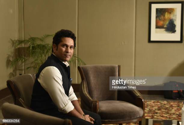 Former Indian cricketer Sachin Tendulkar poses during an exclusive interview with Hindustan Times for the promotion of upcoming movie 'Sachin A...
